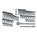 """SK Hand Tools 94547-12 47 Piece 3/8"""" Drive 12 Point Standard and Deep Fractional and Metric Socket Set"""