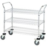 "Quantum Storage Systems WRC-2448-3CO ESD-Safe 3-Shelf Utility Cart, 24"" W x 48"" L x 37-1/2"" H"