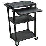 "Luxor LP42LE-B Shelf Cart with Pull-Out Tray and 3 Outlet Electric Assembly, 18"" x 24"" x 42"""