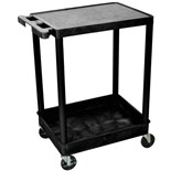 "Luxor STC21-B Utility Cart with Flat Top and Bottom Tub Shelf, Black, 18"" x 24"" x 35-3/4"""
