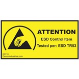 """Desco 06710 Attention ESD Control Item Label (Tested per: ESD TR53) Permanent, 1"""" x 2"""" 1000/Roll"""
