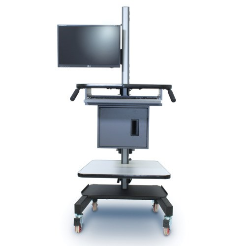 iac industries qs2052004 sms s4 mobile workstation cart with flat panel display swing arm mount. Black Bedroom Furniture Sets. Home Design Ideas