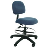"Industrial Seating 50-F Standard Chair, Blue Fabric, Adjustable Height 19"" - 27"""