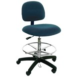 "Industrial Seating PL10-FC Heavy Duty ESD-Safe Chair, Blue Fabric, Adjustable Height 21"" - 31"""