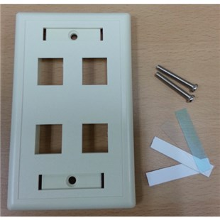 Pan Pacific WPP-4-IV Face Plate, 4 Port Single Gang, Ivory