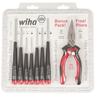 Wiha 26190P Miniature Slotted/Phillips Screwdriver Set with FREE Bonus Pliers