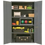 "Durham MFG 2502-4S-95 Industrial Storage Cabinet 16 Gauge Steel with 4 Shelves, 48"" x 24"" x 72"""