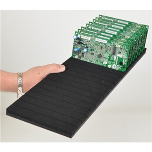 """Conductive Containers Inc. SR1806 ESD-Safe Foam PCB Grid Rack with 20 Slots, O.D. 18"""" x 6"""" x .65"""""""