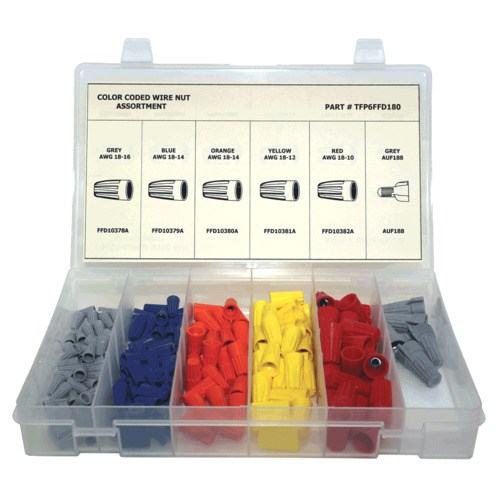 Electrical wire nut colors wiring center tfp6ffd180 180 pc electrical wire nut assortment jensen tools supply rh jensentools com wire nut wire capacity electrical wire nut color chart greentooth Images