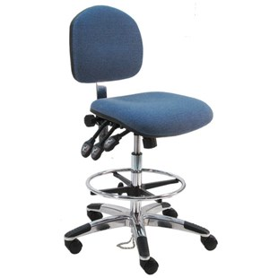 """BenchPro LAT-DFA Deluxe Ergonomic ESD-Safe Chair with Casters, Pacific Blue Fabric, 19"""" - 27"""" Height Adjustment"""