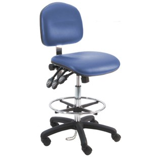 "BenchPro LNT-DCRA Deluxe Ergonomic ESD-Safe, Cleanroom Chair with Casters, Blue Vinyl, 19"" - 27"" Height Adjustment"