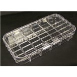 "Dewitt Plastics C1026-A Plastic Parts Box with 18 Compartments, 8"" x 4-1/16"" x 1-3/16"""