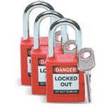 Brady 105886 Standard Safety Padlock (Keyed Alike) 3/Pkg