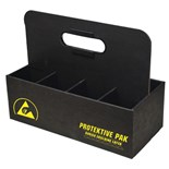 "Protektive Pak 47557 ESD-Safe Tool Carrier Tote with 6 Compartments, 12-1/8"" x 5-5/8"" x 9-1/4"""