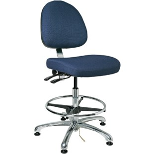 "Bevco 9351M-E Integra Series Ergonomic Static-Safe Chair w/Tilt Seat and Medium Back, Navy Blue Fabric, 19"" - 28-1/2"""