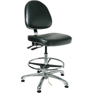 "Bevco 9551M-E Integra Series Ergonomic Static-Safe Chair w/Tilt Seat and Medium Back, Black Vinyl, 21-1/2"" - 31-1/2"""