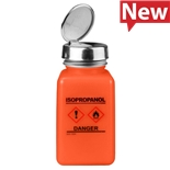 "Menda 35252 Dissipative HDPE durAstatic® Orange Square Bottle with One-Touch Pump, GHS Label with ""Isopropanol"", 6oz"