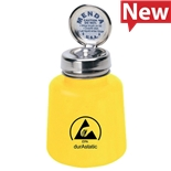 Menda 35559 durAstatic® Dissipative Yellow Round HDPE Bottle with Pure-Touch Pump, 4 oz