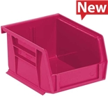 "Quantum Storage Systems QUS210PK Stack and Hang Bins, Pink, OD 5-3/8"" x 4-1/8"" x 3"", 24/Case"