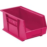 "Quantum Storage Systems QUS240PK Stack and Hang Bins, Pink, OD 14-3/4"" x 8-1/4"" x 7"", 12/Case"