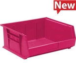 "Quantum Storage Systems QUS250PK Stack and Hang Bins, Pink, OD 14-3/4"" x 16-1/2"" x 7"", 6/Case"