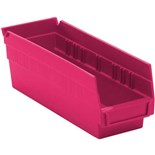 "Quantum Storage Systems QSB101PK Shelf Bins, Pink, OD 11-5/8"" x 4-1/8"" x 4"", 36/Case"