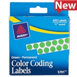 "5791 Avery Permanent Self-Adhesive Green Dot Labels, 1/4"" Dia., 450/Pkg"