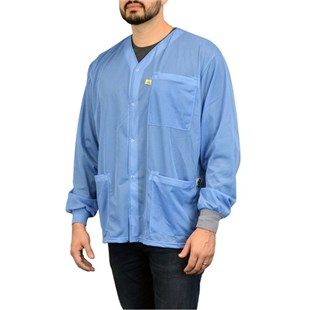 SCS 770100 Blue Dual Wire Jacket with Knit Cuffs, No Collar Xtra Small