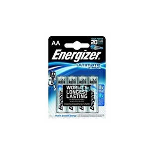 Eveready L91-4 Energizer Ultimate Lithium AA Batteries, 4/Pkg