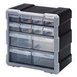 "Quantum Storage Systems PDC12BK Plastic Parts Drawer Cabinet with 12 Drawers, OD 6-1/4"" x 10-1/2"" x 10-1/4"""