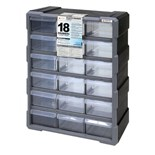 "Quantum Storage Systems PDC18BK Plastic Parts Drawer Cabinet with 18 Drawers, OD 6-1/4"" x 15"" x 18-3/4"""