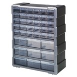"Quantum Storage Systems PDC39BK Plastic Parts Drawer Cabinet with 39 Drawers, OD 6-1/4"" x 15"" x 18-3/4"""