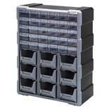 "Quantum Storage Systems PDC930BK Plastic Parts Drawer Cabinet with 39 Drawers, OD 6-1/4"" x 15"" x 18-3/4"""
