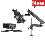 O.C. White TKPZE-FA-BL ProZoom® 4.5 Extended Working Distance Microscope with Articulating Arm Base,  ESD Safe Standard; Fiber Optic Back Light