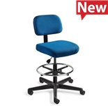 "Bevco 5500-F-3850S/5 Fabric Chair, Non-Tilt, Nylon Base, Chrome Footring, HF Casters, Adj. Height 24""-34"", Doral Series"