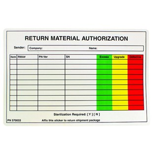 "S-462-4CLR 4"" x 6"" Custom Label for Intuitive Surgical Return/RMA"
