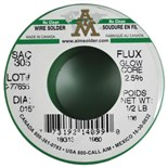 "AIM Metals SAC305-015-GLOWCORE-2.5 No Clean Wire Solder, .015"", 2.5%, 1/2 lb Spool"