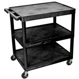 "Luxor HE40-B 3-Shelf Utility Cart, Black, 24"" x 32"" x 41"""