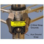ESDCGP2 Ground Point Clip for Wire Shelving with Two Wirst Strap Ground Ports and Aux Ground Snap