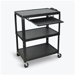 "Luxor AVJ42XLKB Cart with Power Cord and Pullout Keyboard, 32""W x 20""D, Adjustable Height"