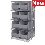 Quantum Storage Systems WRA86-2136C-166 Wire Rack with Eight Extra Large Bins