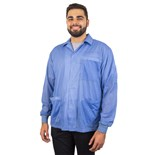 Desco 73760 Smock, ESD Shielding, Jacket, Knitted Cuffs, Blue, Large