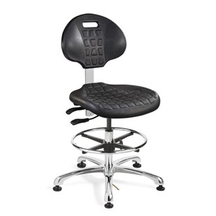 "Bevco 7551E Polyurethane Chair ESD, Black, Chrome Tubular Steel Base, Adj. Height 20.5""-30.5"", Everlast Series"