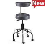 """Bevco S3600R Stool With Backrest, Polyurethane Seat, HF Casters, Adjustable Height 25.25""""-30.25"""", ErgoLux Seies"""